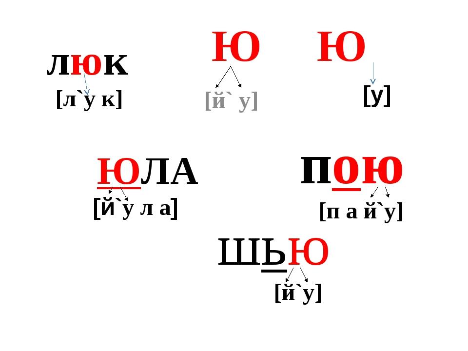 Ю Ю [й` у] ЮЛА [й`у л а] пою [п а й`у] шью [й`у] [у] люк [л`у к]