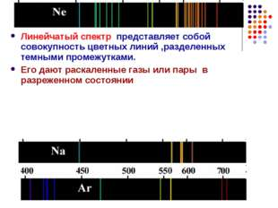 Линейчатый спектр представляет собой совокупность цветных линий ,разделенных