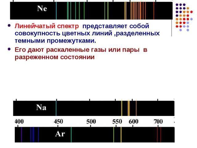 Линейчатый спектр представляет собой совокупность цветных линий ,разделенных...