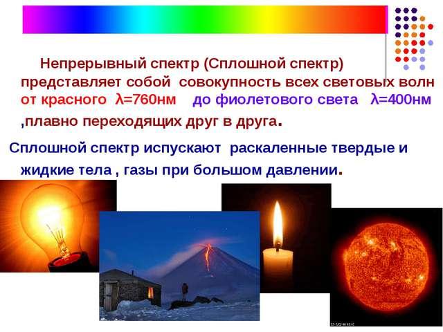Непрерывный спектр (Сплошной спектр) представляет собой совокупность всех св...