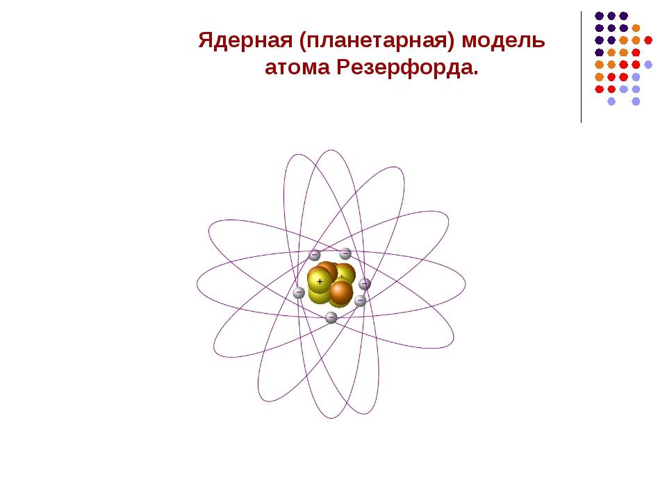Ядерная (планетарная) модель атома Резерфорда.