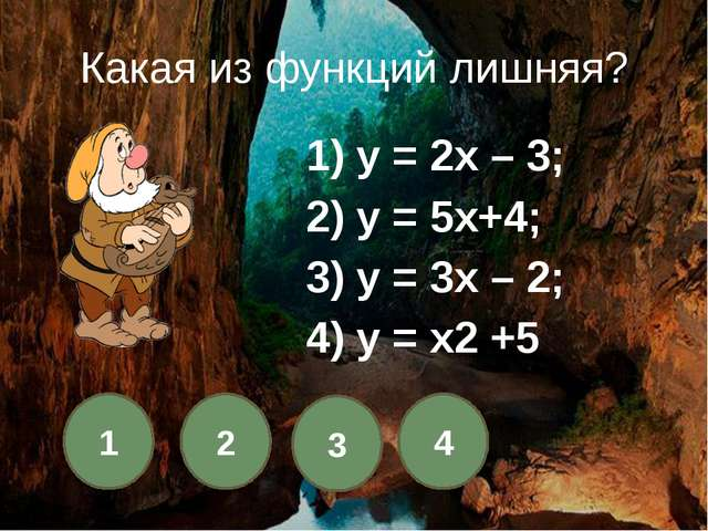1 2 3 4 Какой из графиков не пересекает ось Ох?  1) у = х;2) у = 2х +3;...