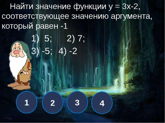 1 2 3 4 При каком значении k график функции у = кх +7 проходит через точку С...