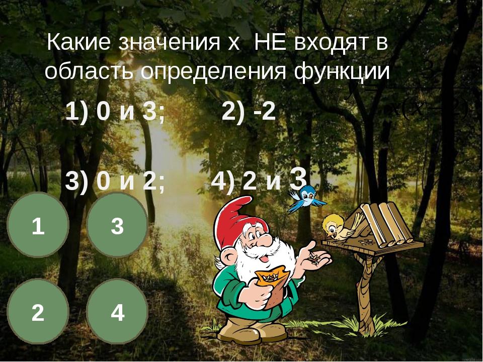 1 2 3 4 Какие значения х НЕ входят в область определения функции 1) 0 и 3;...
