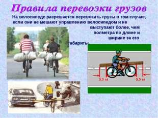 На велосипеде разрешается перевозить грузы в том случае, если они не мешают у