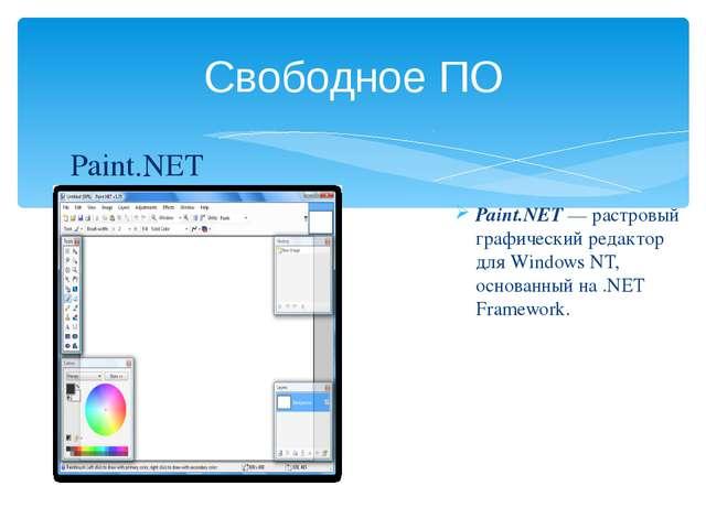 Свободное ПО Paint.NET — растровый графический редактор для Windows NT, основ...