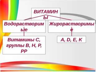 ВИТАМИНЫ Водорастворимые Жирорастворимые Витамины С, группы В, H, P, PP A, D