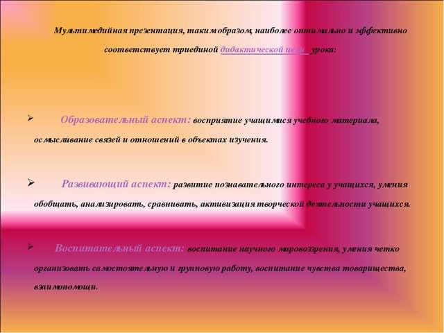 Мультимедийная презентация, таким образом, наиболее оптимально и эффективно...