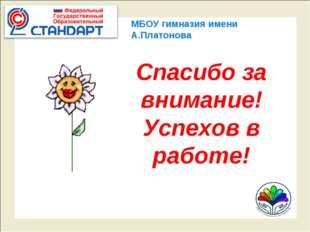 МБОУ гимназия имени А.Платонова Спасибо за внимание! Успехов в работе!