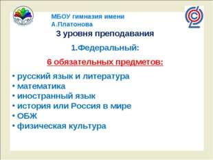 МБОУ гимназия имени А.Платонова 3 уровня преподавания Федеральный: 6 обязател