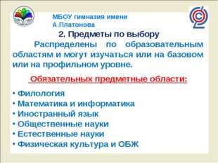 МБОУ гимназия имени А.Платонова 2. Предметы по выбору Распределены по образо