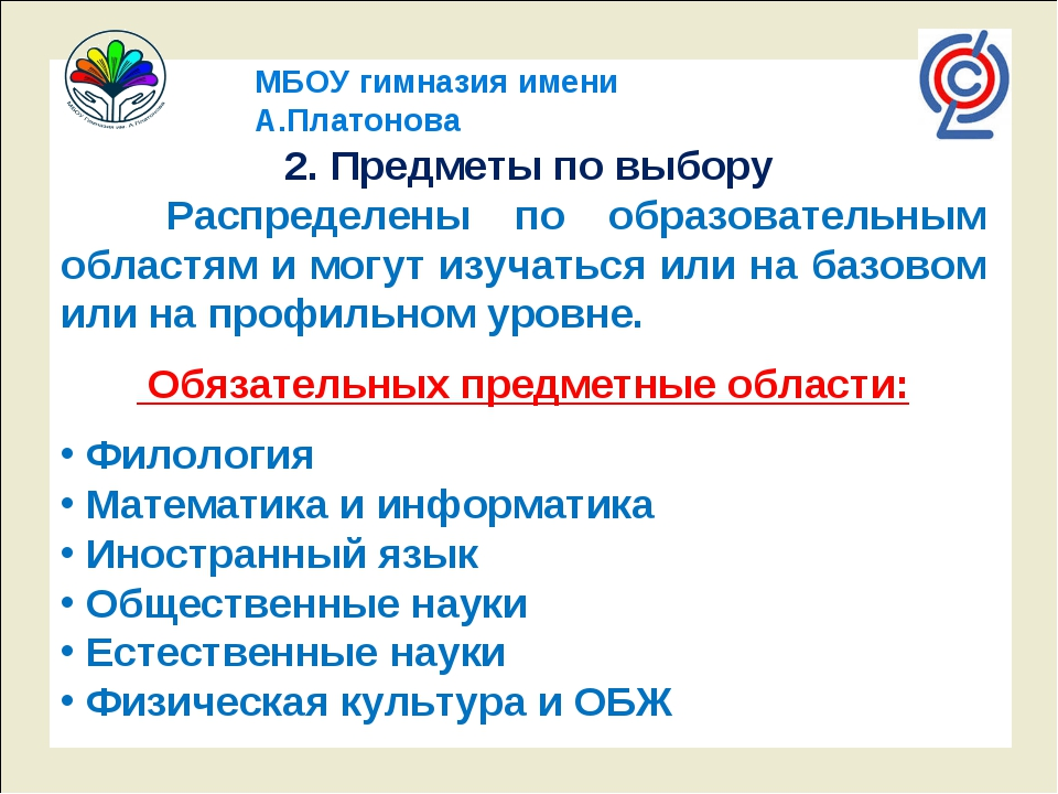 МБОУ гимназия имени А.Платонова 2. Предметы по выбору Распределены по образо...
