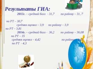 Результаты ЕГЭ: 2012г. – средний балл – 66,1, по району – 64,18, по РТ – 64,