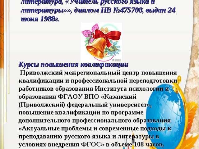 Образование – высшее профессиональное образование, Казанский государственный...