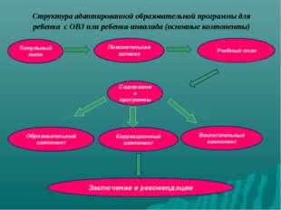 Структура адаптированной образовательной программы для ребенка с ОВЗ или ребе