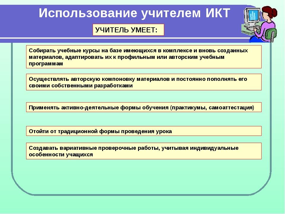 Использование учителем ИКТ Собирать учебные курсы на базе имеющихся в комплек...