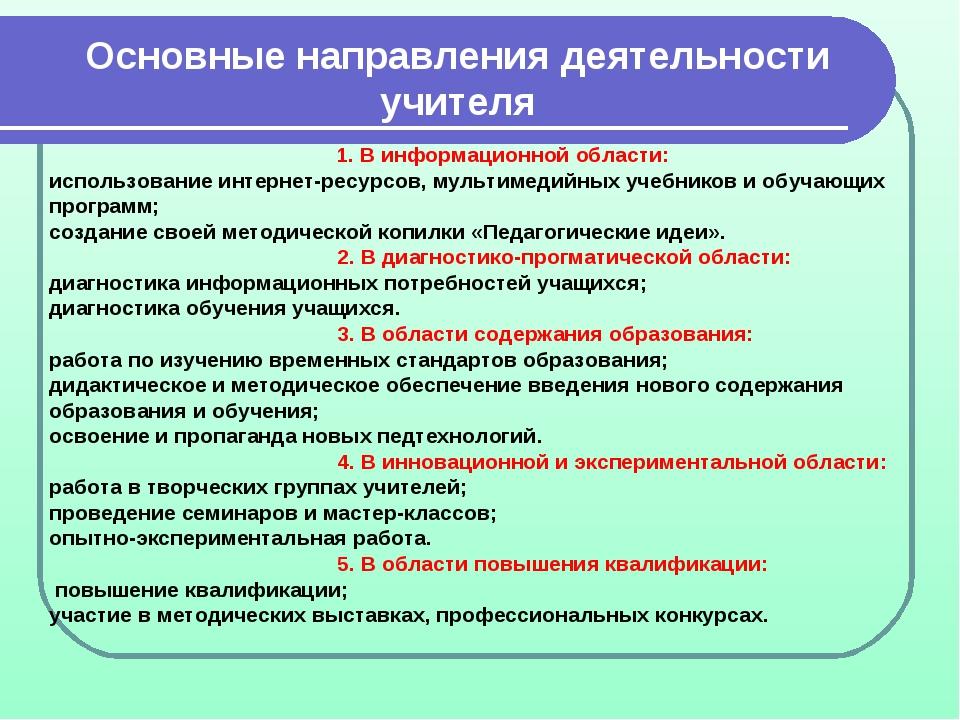 Основные направления деятельности учителя 1. В информационной области: исполь...