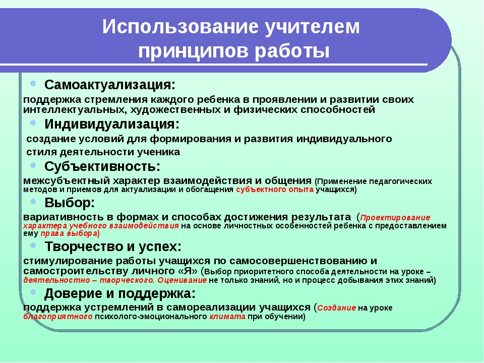 Использование учителем принципов работы Самоактуализация: поддержка стремлен...