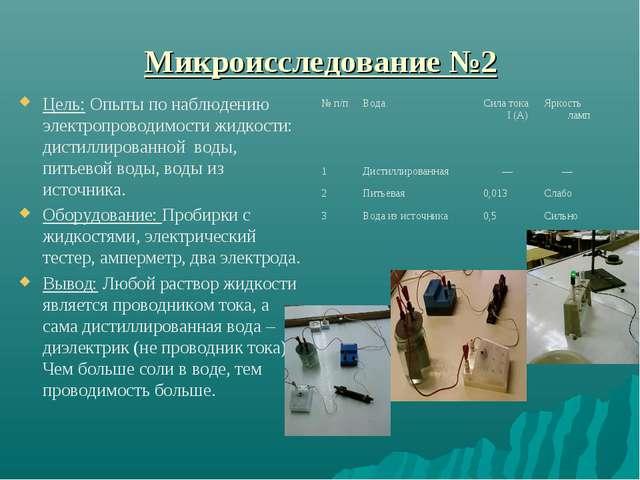 Микроисследование №2 Цель: Опыты по наблюдению электропроводимости жидкости:...