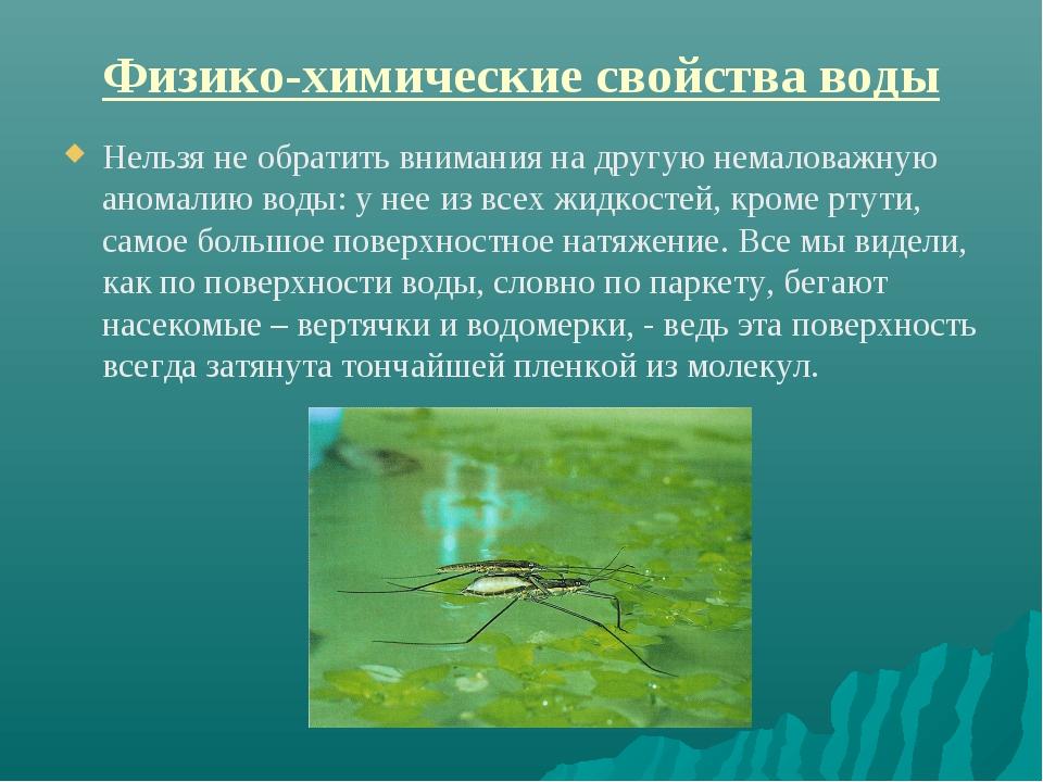 Физико-химические свойства воды Нельзя не обратить внимания на другую немалов...