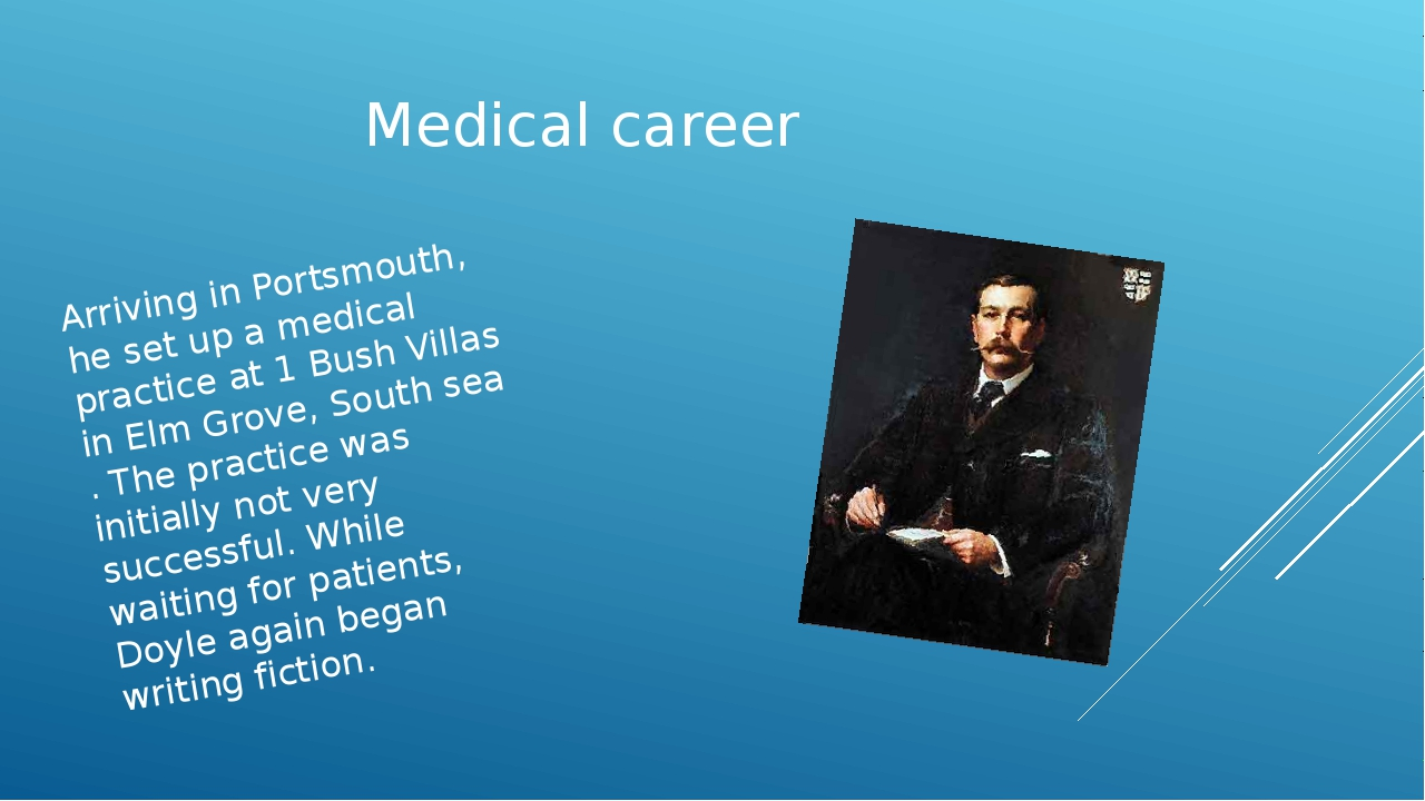 Medical career Arriving in Portsmouth, he set up a medical practice at 1 Bush...