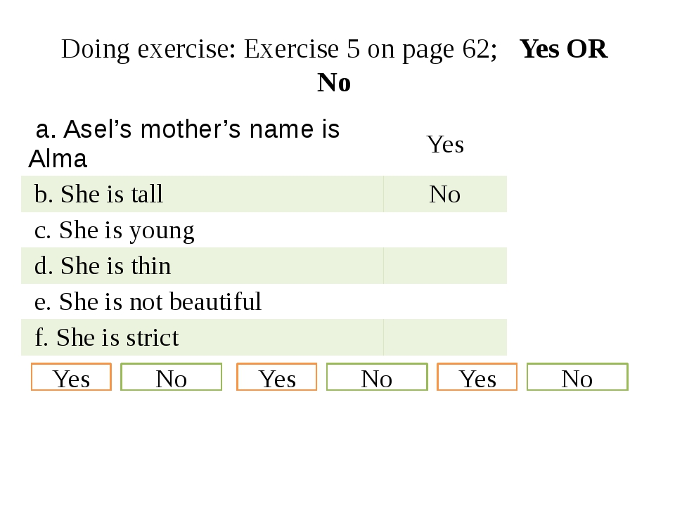 Doing exercise: Exercise 5 on page 62; Yes OR No Yes No Yes No Yes No  a.Asel...