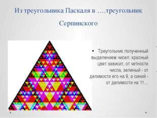 Из треугольника Паскаля в ….треугольник Серпинского Треугольник полученный вы