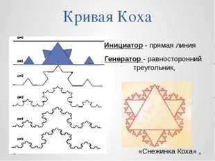 Кривая Коха Инициатор - прямая линия Генератор - равносторонний треугольник,