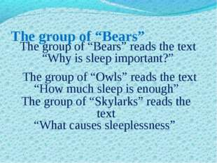 "The group of ""Bears"" The group of ""Bears"" reads the text ""Why is sleep import"