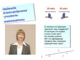 Надежда Александровна -учитель математики 20 км/ч 25 км/ч О сколько эти функц