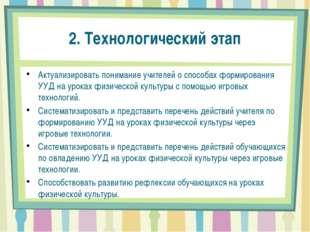 2. Технологический этап Актуализировать понимание учителей о способах формиро