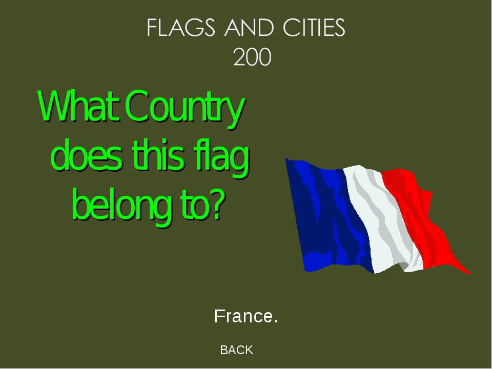 BACK France. What Country does this flag belong to?