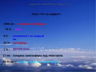 Игра «Что за цифра?» 2000 км - толщина атмосферы. 78 % - азот. 6ºС - понижени
