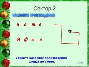 Сектор 2 Ответ. Узнайте название произведения следуя по схеме. ноте Афе