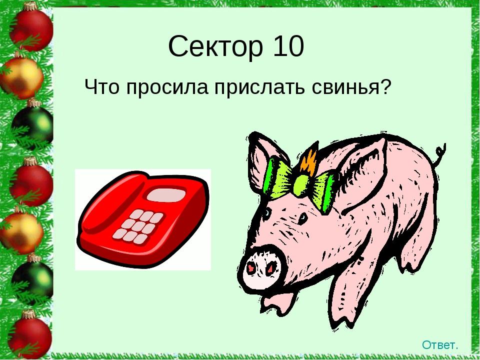 Сектор 10 Что просила прислать свинья? Ответ.