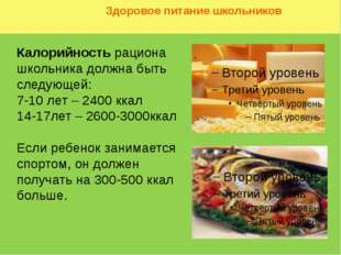 Здоровое питание школьников Калорийность рациона школьника должна быть следу