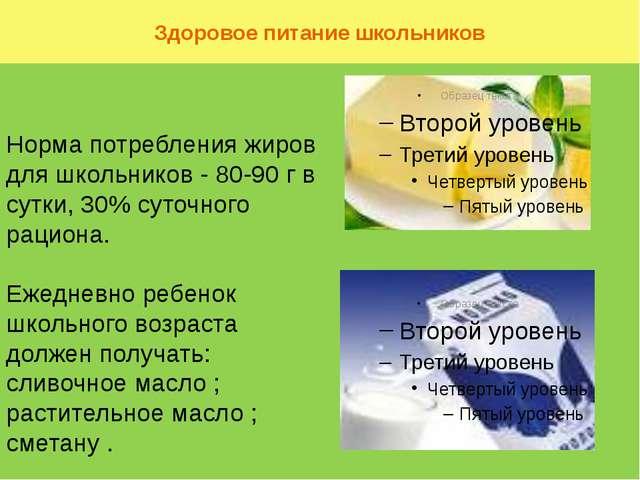 Здоровое питание школьников Норма потребления жиров для школьников - 80-90 г...