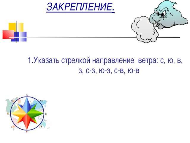ЗАКРЕПЛЕНИЕ. 1.Указать стрелкой направление ветра: с, ю, в, з, с-з, ю-з, с-в...