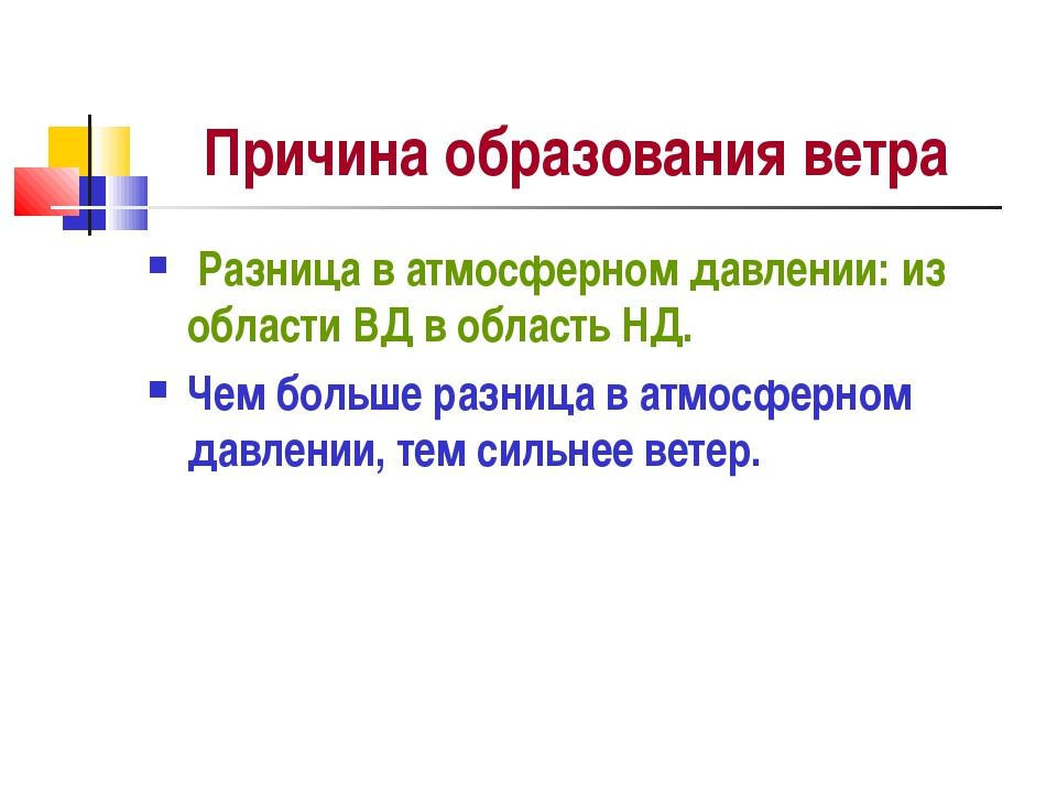 Причина образования ветра Разница в атмосферном давлении: из области ВД в обл...