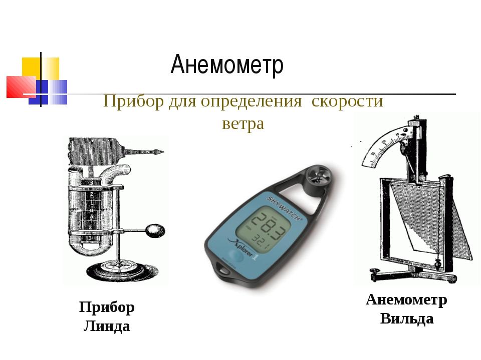 Анемометр Вильда Прибор Линда Прибор для определения скорости ветра Анемометр