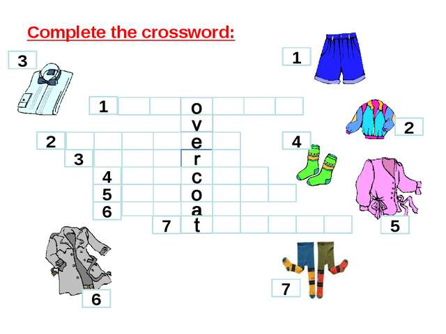 Complete the crossword: a 2 1 3 4 5 6 7 1 2 3 4 5 6 7