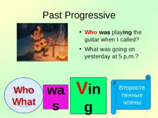 Past Progressive Who was playing the guitar when I called? What was going on