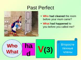 Past Perfect Who had cleaned the room before your mum came? What had happened