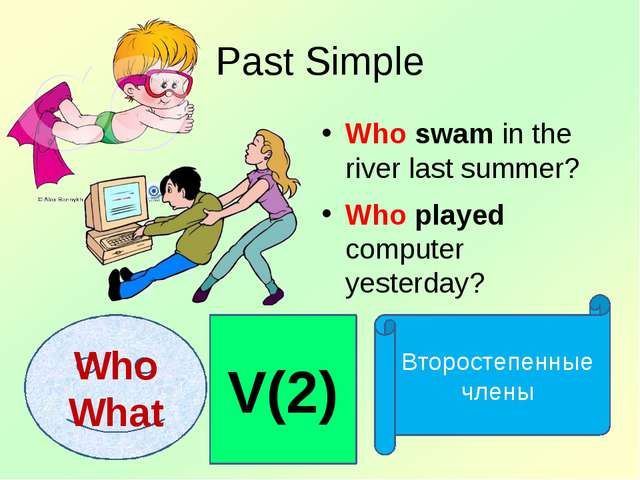 Past Simple Who swam in the river last summer? Who played computer yesterday?...