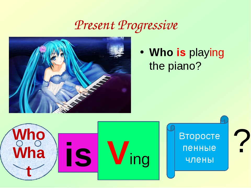 Present Progressive Who is playing the piano? Who What Ving Второстепенные чл...