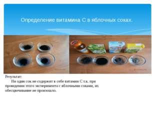 Определение витамина С в яблочных соках. Результат: Ни один сок не содержит