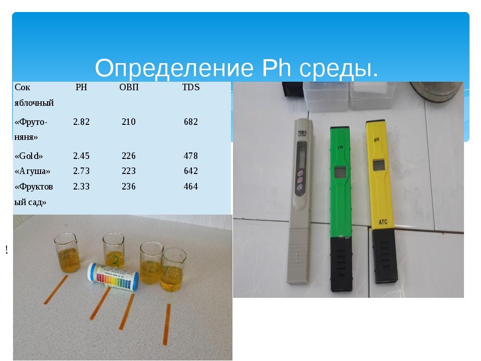 Определение Ph среды. ! Сок яблочный РН ОВП TDS «Фруто-няня» 2.82 210 682 «G...