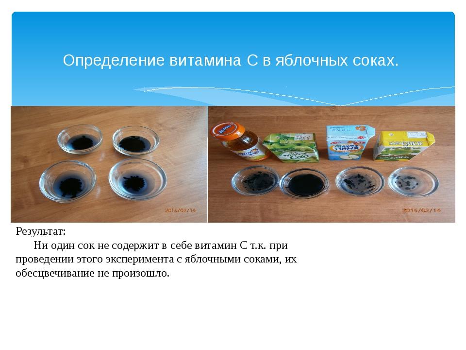 Определение витамина С в яблочных соках. Результат: Ни один сок не содержит...
