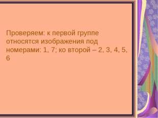 Проверяем: к первой группе относятся изображения под номерами: 1, 7; ко второ