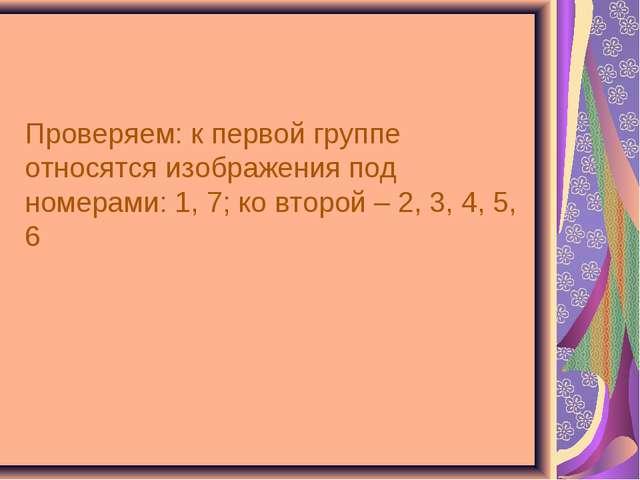 Проверяем: к первой группе относятся изображения под номерами: 1, 7; ко второ...